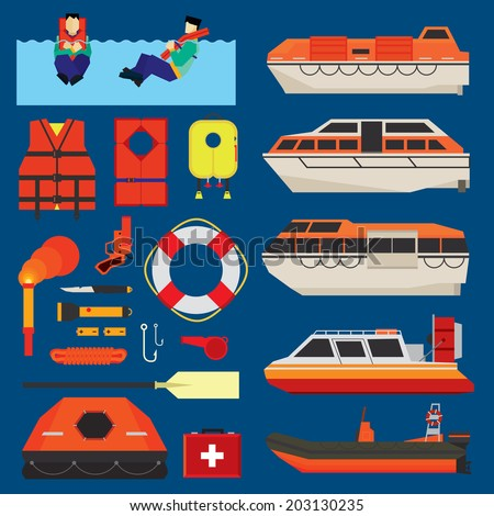 Water survival boats, equipment and kits - stock vector