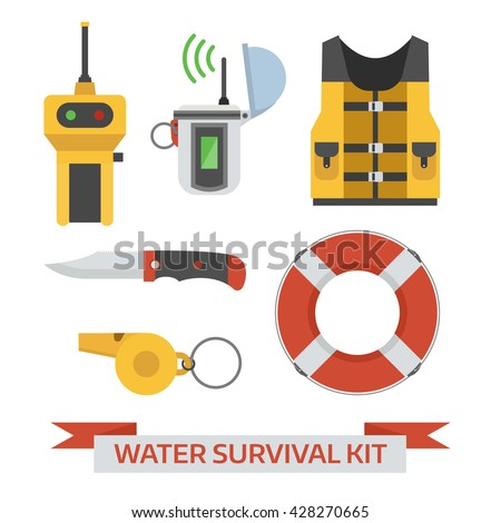 Water survival kit. Safety gear essentials. Life vest, EPIRB, portable finder, lifebuoy, whistle and knife isolated on white background. Emergency protection staff vector icons. - stock vector