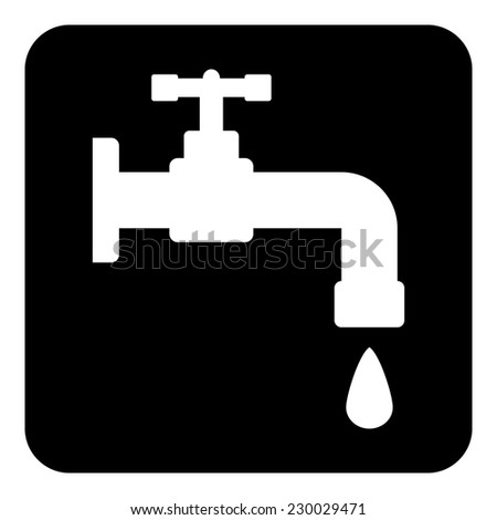 Water tap button on white background. Vector illustration. - stock vector