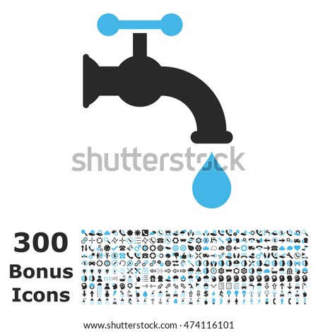 Water Tap icon with 300 bonus icons. Vector illustration style is flat iconic bicolor symbols, blue and gray colors, white background.