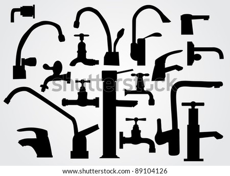 Water tap silhouette set - stock vector