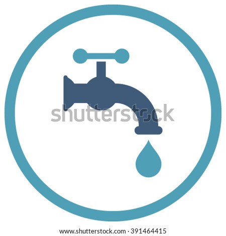 Water Tap vector icon. Style is bicolor flat rounded iconic symbol, water tap icon is drawn with cyan and blue colors on a white background.