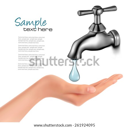 Water tap with drop and hand. Vector illustration. - stock vector