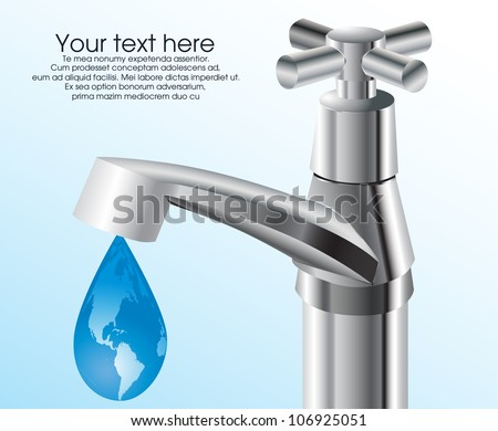 Water tap with earth globe drop - stock vector