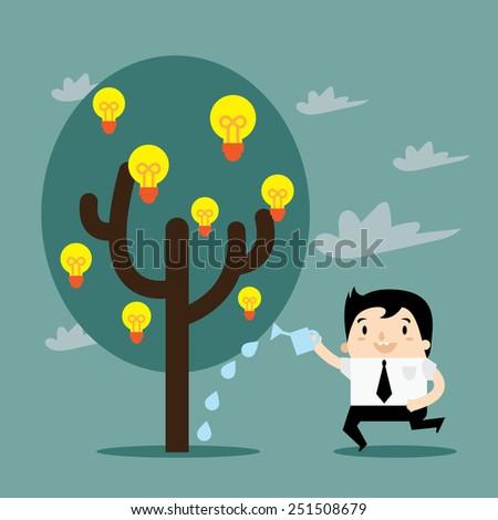 Water the Idea Tree - stock vector
