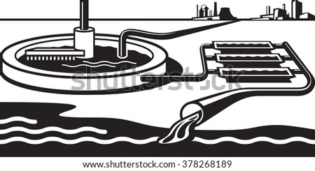 Water treatment plant - vector illustration - stock vector