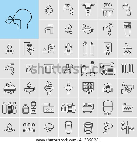 Water Treatment Process Filtration Systems Water Pump Vector Icons Set  - stock vector