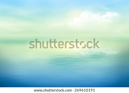 Water vector background calm and clear. Sea landscape - stock vector