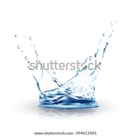 water vector. blue water splash isolated vector on white with water drops. 3d illustration. Water background. Water splash vector eps10. - stock vector