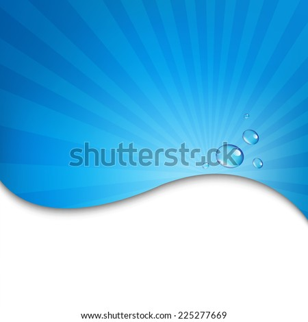 Water Wall With Blue Sunburst With Gradient Mesh, Vector Illustration - stock vector