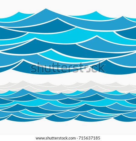 Water Wave abstract design. Marine seamless pattern with stylized blue waves on a light background