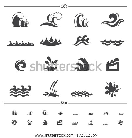 water wave icons.vector eps10 - stock vector