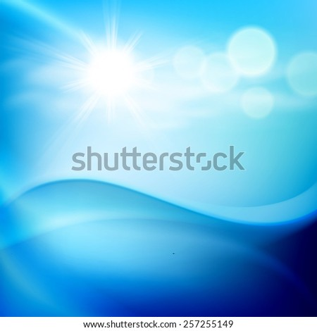 Water wave in sunny day. EPS10 vector. - stock vector