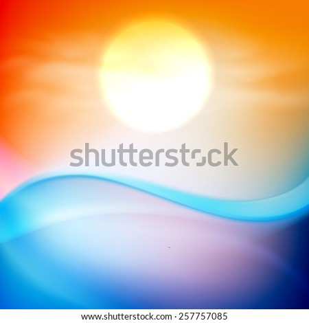 Water wave in sunset time. EPS10 vector. - stock vector