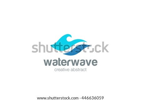 Water Wave Logo abstract design vector template. Aqua icon. Cosmetics Surf Sport Logotype concept.