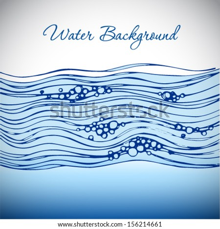 Water wave with bubbles. Abstract vector background. - stock vector