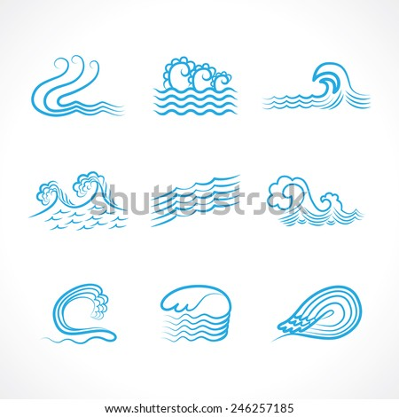 water waves abstract symbols - stock vector