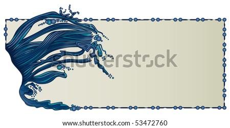 Water Waves Border - stock vector