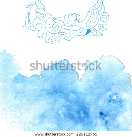 Watercolor abstract sea background with hand drawn sketch. Vector illustration. - stock vector