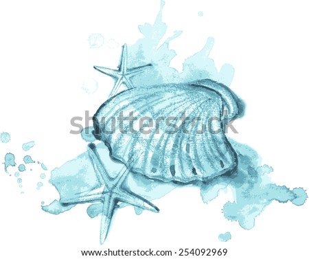 Watercolor and pastel illustration of sea shells and stars and spray - stock vector