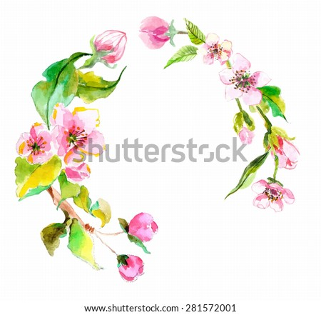 Watercolor apple flowers wreath, beautiful background for design, Vector