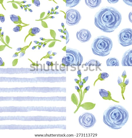 Watercolor artistic  blue flowers,strips seamless pattern set.Simple floral branches,bud.Hand drawing background,wallpaper,fabric,backdrop.Vintage vector,painting texture.Summer,spring,wedding,holiday - stock vector
