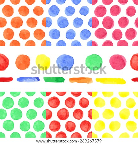 Watercolor artistic colored polka dot seamless pattern ,borders set.Geometric drop,simple point,bright stein.Hand drawing Baby background,wallpaper,fabric,backdrop.Funny  vector,painting texture. - stock vector