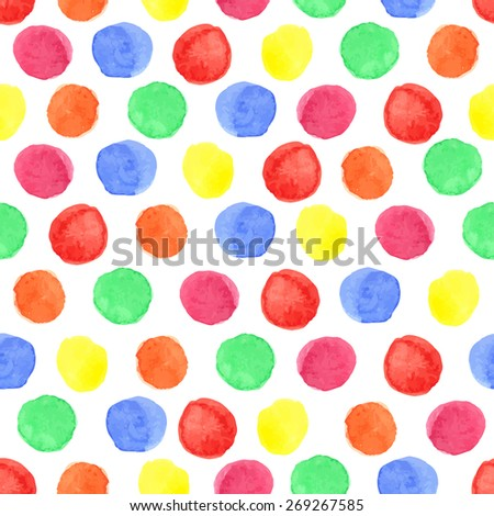 Watercolor artistic colored polka dot seamless pattern.Geometric drop,simple point,bright stein.Hand drawing Baby style background,wallpaper,fabric,backdrop.Funny Vintage vector,painting texture. - stock vector