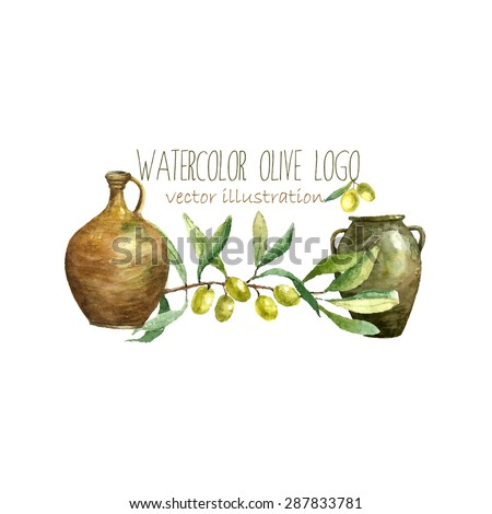 Watercolor artistic olive branch and clay pots logo. Hand drawn natural elements: green olives, olive branch, clay pots. Vector vintage label design.
