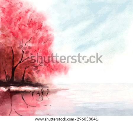 watercolor autumn background with red trees, sky and lake. vector illustration - stock vector