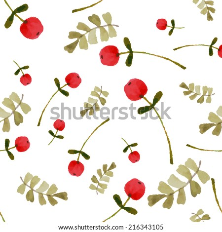Watercolor autumn floral seamless for paper, textiles, cards. EPS 10 - stock vector