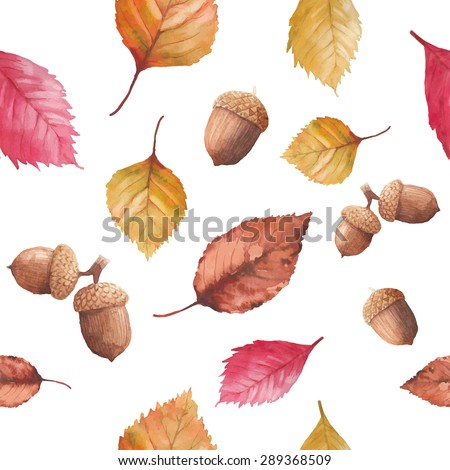 Watercolor autumn nature seamless pattern. Hand drawn texture with red, yellow and orange tree leaves, acorn and cone on white background. Vector season wallpaper - stock vector