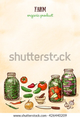 Watercolor background design with farm canning vegetables. Layout design with sketchy food - stock vector