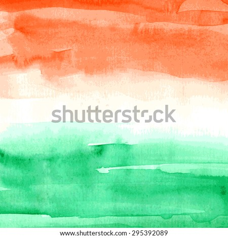 Watercolor background. Indian Flag for Indian Independence Day. Vector illustration. Watercolor texture in orange, white, and green colors - stock vector
