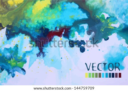 watercolor background of a blue the violet - stock vector