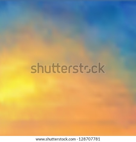 Watercolor background/sunset sky - vector illustration. - stock vector