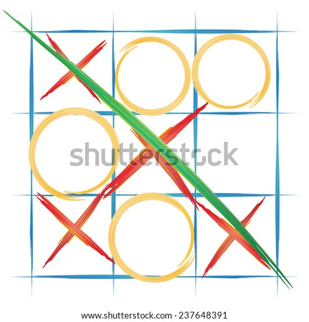 watercolor background, TIC TAC toe, vector illustration - stock vector