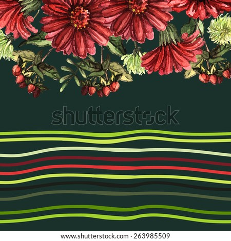 Watercolor background with red flowers and strips. Hand painting. Illustration for greeting cards, invitations, and other printing projects. - stock vector