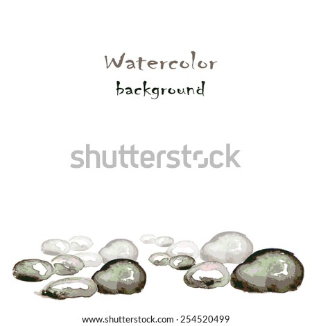 Watercolor background with stones on white, vector - stock vector