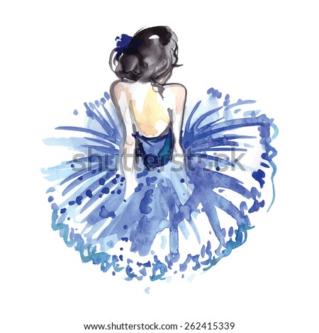 Watercolor ballerina in blue tutu from the back,vector - stock vector