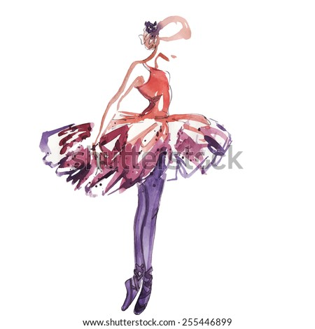 Watercolor ballerina in red, vector - stock vector