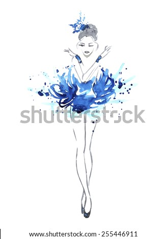 Watercolor ballerina in red, vector - stock vector