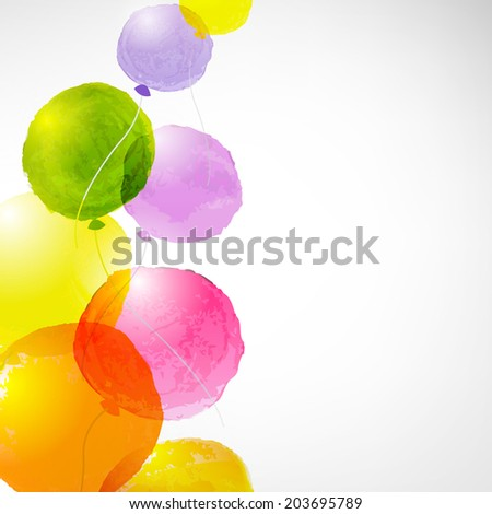 Watercolor Balloons, With Gradient Mesh, Vector Illustration - stock vector