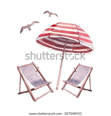 Watercolor beach lounge set. Hand drawn illustration with isolated on white background objects: seagulls, beach umbrella and chairs. Vector design collection - stock vector