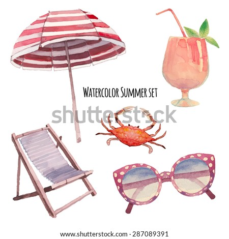 Watercolor beach vacation set. Hand drawn summer objects: crab, coctail, beach umbrella, sunglasses,  beach chair. Vector illustrations isolated on white background - stock vector