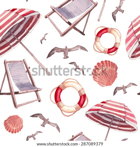 Watercolor beach vacations seamless pattern. Hand drawn texture with isolated on white background objects: seagulls, beach umbrella, sea shell, lifebuoy and chairs. Vector wallpaper - stock vector
