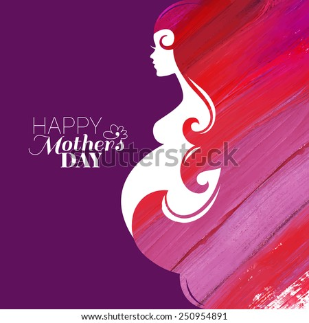 Watercolor beautiful pregnant woman. Painting vector illustration - stock vector