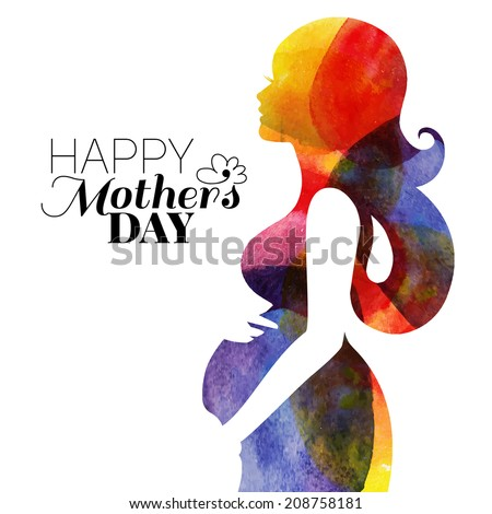 Watercolor beautiful pregnant woman. Vector illustration - stock vector