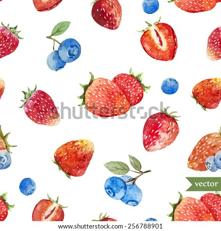 watercolor, berry, strawberry, pattern, blueberries - stock vector