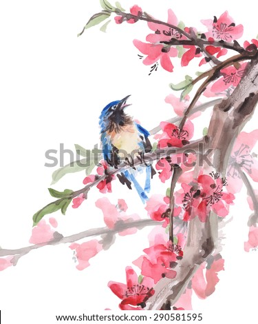 Watercolor Bird on cherry blossoms branches. Vector background. - stock vector